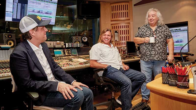 Joe Bonamassa at Abbey Road with Kevin Shirley and Bernie Marsden (Image credit: James Sharrock)